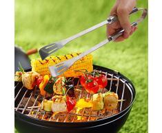 Set di utensili per barbecue, di qualità, con pinze, forchetta, spatola, saliera e pepiera, cavatappi, apribottiglie