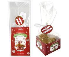 Set confezionamento per articoli di pasticceria, base + sacchetto, 6 pezzi, per biscotti, cioccolatini, praline - scatola, bustine