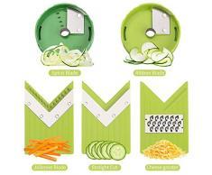 CHISTAR Affetta Verdure Mandolina con Spiralizzatore di Verdure - Accessori Cucina con Contenitore e Lame Inox Regolabili per Affettare, Cetriolo Zucchine Carota