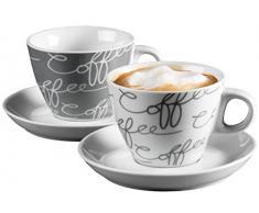 Ritzenhoff & Breker 005776 Cornello - Servizio di tazze da cappuccino per 2 persone, colore: Grigio