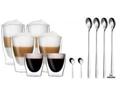 DUOS Feelino Set di 6 Bicchieri Termici a Doppia Parete + 6 boccette in Acciaio Inox / 2 x 80 ml Espresso / 2 x 310 ml Latte Macchiato / 2 x 400 ml Longdrink