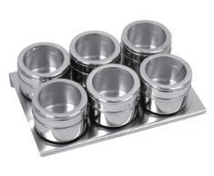 Equinox 505252 - Set di 6 contenitori magnetici per spezie, Acciaio Inossidabile e Vetro Acrilico