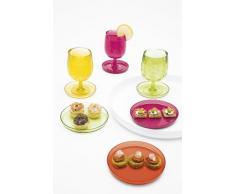 ZAK Designs Stacky 2007-150 - Set di 4 Bicchieri da 300 ml con Vassoio (Diametro: 20 cm), Multicolore con Vassoio Bianco