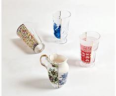 SELETTI Set 3 Bicchieri in Vetro Hybrid-Clarice Ø Cm.8,5-9,1 H. 14,8-15,2