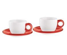 Guzzini Set 2 Tazze Cappuccino Colazione Con Piattino Gocce Rosso