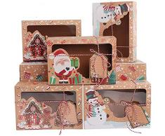 Scatola per torta regalo fai da te, Forniture per scatole regalo per feste di Natale, Confezione regalo per torta con biscotti e caramelle 12 pezzi