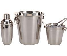 Set da Cocktail in acciaio inox 4. – Pezzi con cocktail shaker, Secchio per ghiaccio, pinza per ghiaccio e Prosecco radiatore
