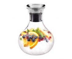 Relaxdays Caraffa Cilindrica in Vetro, da 1,5 l, tappo salvagoccia, acciaio inox, cristallo, lavastoviglie, trasparente, 1 Pz.
