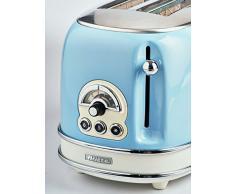 Ariete 155 Tostapane Vintage 2 Fette, 810 watt, 6 livelli di tostatura, in acciaio inox verniciato in colore Celeste pastello; senza pinze