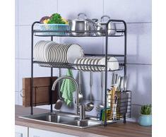 PLLP Scaffale di stoccaggio della cucina della famiglia, scolapiatti, cucina in acciaio inossidabile 304 nero a 2 piani sopra il lavandino Scaldapiatti Scolapiatti Organizzatore per scolapiatti, 4 di