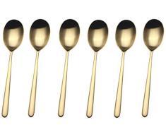 MEPRA Linea Ice Oro Confezione 6 Cucchiai Moka, Acciaio Inossidabile 18/10