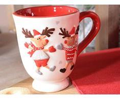 Ideapiu 4 Tazza Mug in Ceramica con Decorazione Renne in Rilievo