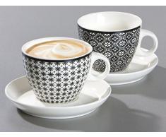Ritzenhoff & Breker 083323 Set Tazze da caffè Maya, 6 pezzi, 300 ml, Porcellana, Bianco/Nero, Porcellana, Weiß und Schwarz, 22x17x17 cm