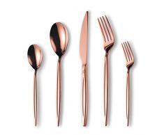 Berglander Set di posate in titanio in oro rosa 30 pezzi, set di posate in oro rosa in acciaio inossidabile, servizio di posate in rame per 6