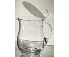 Brocca in cristallo con coperchio in argento 800
