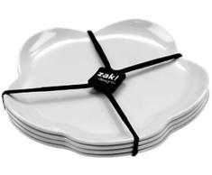 Zak Designs 1313-4550 - Piatti da dessert Sweety, 4 pezzi, 14 cm, colore: Bianco