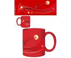 1art1 Natale - Babbo Natale E La Sua Slitta di Renne sopra La Luna Tazza da caffè Mug (9 x 8cm)
