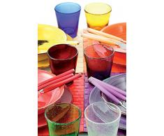 Villa d'Este Home Tivoli Cancun Set 6 Bicchieri, Vetro, Multicolore, 9x9x10 cm