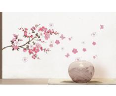 Wall Sticker, DDLBiz® Adesivi Murales, Carta da Pareti Fiore Rosa Farfalla Decorazione Murali da Parete
