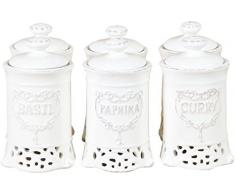 Set 6 contenitori spezie in porcellana bianca L7xPR7xH12 cm cad.