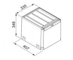 Franke 40 Cube - Pattumiera estraibile a 3 scomparti, per la raccolta differenziata, scorrevole, 1 secchio 14 l + 2 secchi da 7 l, colore: Grigio ardesia/Grigio chiaro/Rosso