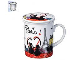 FoxTrot 9039TOIT - Tazza + infusore, motivo: gattini a Parigi, materiale: porcellana, metallo, dimensioni: 10 cm