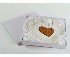 Antipastiera ceramica bianca cuore originale bomboniera utile per matrimonio, cresima SB