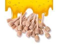 Surenhap Confezione da 24 Mini Bastoncini di Miele in Legno da 3 Pollici, confezionati singolarmente, Server per Dispenser di Miele Barattolo di Miele, bomboniere