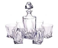 "6 bicchieri whisky + decanter ""QUADRO SPIRIT"", set 7 pezzi per whisky, cristallo al piombo brillante, con confezione regalo, stile moderno (GERMAN CRYSTAL powered by CRISTALICA)"