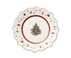Villeroy & Boch Toys Delight 1485852642 - Piatto colazione in porcellana a tema natalizio, Bianco, Diametro 240 mm, 1 pezzo