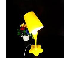 Lampada da tavolo creativa Rovesciando di pittura di secchio lampada di ufficio di camera decorazione della casa, giallo, 220 * 390 * 140mm