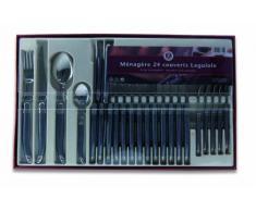 Laguiole Production 405784 - Servizio di posate, 24 pezzi, in acciaio INOX, colore: Nero