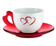 Guzzini Set 2 Tazze Colazione Tazzoni con Piattino Love Cuore Rosso