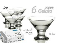 Gicos Set 6 pz Bicchieri Coppe Gelato Cocktail Ice 165 CC 10,5 * 8 cm in Vetro ACF-728228