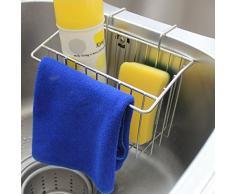 Scolapiatti per lavello da cucina, Foxom SUS304, in acciaio inossidabile, porta spazzole, spugne, sapone, detersivo lavapiatti, porta utensili da cucina, supporto per organizzare gli oggetti