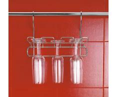 Metaltex Lonardo - Portabicchieri da vino, 3 file da 2 bicchieri ciascuna