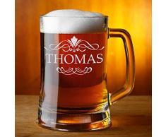 Leonardo Boccale di birra con personale dedica personalizzata, 0,3 Liter Glas