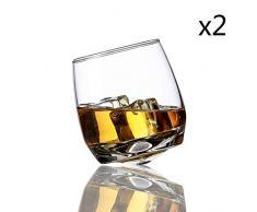 Uyuhvbj - Bicchiere rotante per whisky, vodka, brandy, whisky, whisky, bicchiere rotante, 2 pezzi., 270ml