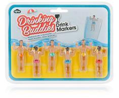 NPW Drinking Buddies Segna Bicchiere, Plastica, Multicolore