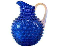 Brocca in cristallo in blu cobalto con vetro cristallo manico e verruche ottica circa 2L