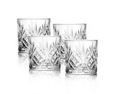 Set di 4 bicchieri da whisky | Bicchieri da whisky vintage | Bicchieri di alta qualità | Set regalo in vetro | Brandy, Scotch Gin Bicchieri | M&W