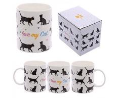 Puckator I Love My Cat Tazza-Silouette Gatto, Ceramica, Nero