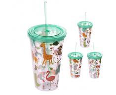 Puckator CUP05 - Bicchiere in plastica, con Cannuccia e Coperchio, Motivo Animali dello Zoo, 10 x 10 x 16 cm, Colore: Giallo/Verde/Arancione/Marrone/Trasparente