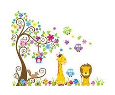 Rainbow Fox Albero Fiore Colorato Simpatici Gufi Leone Cervo Adesivi Murali, Camera dei Bambini Vivai Adesivi da Parete Removibili/Stickers Murali/Decorazione Murale