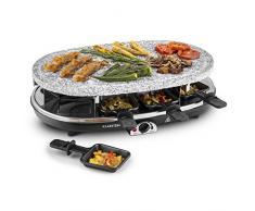 Klarstein All-U-Can Grill 4-in-1 (1500 Watt, pentolini e piastre antiaderenti, intercambiabili, piastra in pietra, pesce, carne, formaggio, crepes) - nero