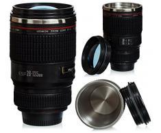 VENKON - Tazza termica da viaggio - design Obiettivo / Lente per fotocamera - per caffè, tè, latte, acqua, ecc. - 0,40 l, nero