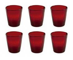 Villa d'Este Home Tivoli Cancun Set 6 Bicchieri dAcqua, Vetro, Rosso Rubino
