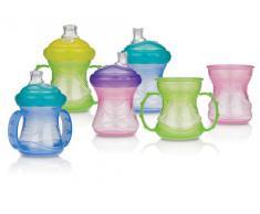 """Nuby ID9895GREEN - Tazza per imparare a bere, Bicchiere in polipropilene """"4 in 1"""" da 240 ml e beccuccio flessibile in silicone, 24 mesi, colori: Assortiti"""