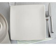 MIKASA Gourmet Basics Stoneware Square Piatto Piano, Ceramica, off-White, 7.500 x 9.500 x 9.500 cm
