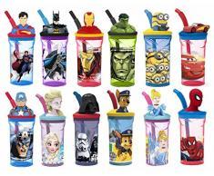 Bicchiere/borraccia per bambini con personaggio in 3D, con cannuccia allungabile, plastica, IronMan, med